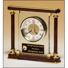 Glass and Rosewood Clock with Gold Accents