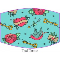 Teal Tattoo Face Mask