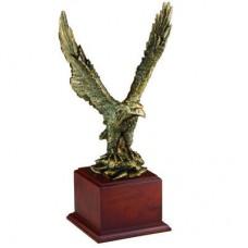 Brass Eagle on Wood Base