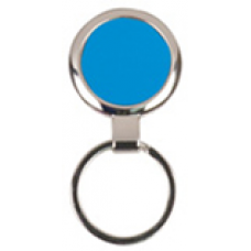 Round Blue Laserable Keychain