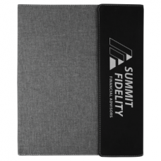 Black/Silver Leatherette with Gray Canvas Portfolio