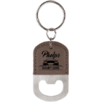 Gray Leatherette Keychain