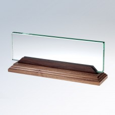 Glass Name Plate with Walnut Stand