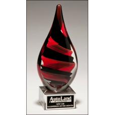 Black & Red Helix Art Glass