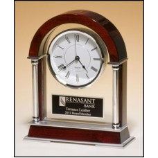 Glass/Rosewood Clock with Silver Trim