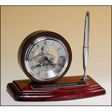 Silver Skeleton Clock and Pen on Rosewood