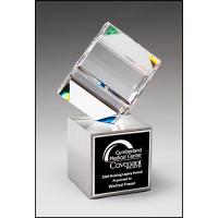 Crystal Cube on Brushed Metal Base